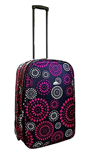 Lightweight Expandable Hot Pink Flower Trolley Suitcase (23