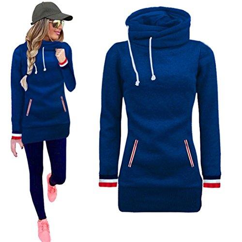 Sudadera Mujer, Manadlian Vestido casual de la camisa del invierno de las mujeres manga larga Sudadera con capucha (M, Azul)