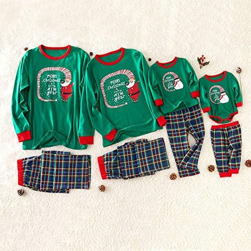 CX ECO Familie Weihnachten Pyjamas Set Cartoon Santa Gedruckt Familie PJs Nachtwäsche Weihnachtsmann Elf Cosplay Outfit für Kinder Erwachsene Lounge Wear,Mom:L -