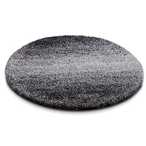 Badematte Ombre schwarz | Hochflor Badteppiche zum Set kombinierbar | Verschiedene Größen von der Duschmatte bis zur Wannenvorlage (100cm rund)
