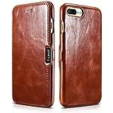 Luxus Tasche für Apple iPhone 7 Plus (5.5 Zoll) / Case mit Echt-Leder Außenseite / Schutz-Hülle seitlich aufklappbar / ultra-slim Cover / Etui mit Textil-Innenseite / Vintage Look / Farbe: Dunkel-Braun