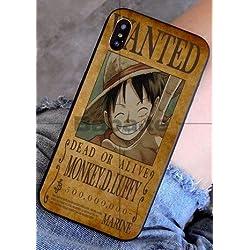 Art-design Coque iPhone 7 et iPhone 8 Luffy One Piece Japon Wanted Dessin Animé Silicone Souple