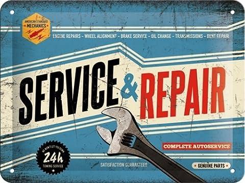 Service et réparation. Service Auto complet., clé, Blue Sign. 24h/24. pièces authentiques. Idéal pour maison, maison, abri de jardin, garage, ou Homme Grotte. automobile. 3d Panneau mural en métal/acier