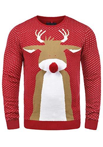 Blend Rudolph Herren Strickpullover Weihnachtspullover Mit Rundhalsausschnitt, Größe:M, Farbe:Nova Red/Nose (73858)