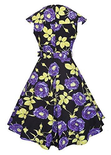 Womens 1950s Boat Neck Vintage Kleid Rockabilly Kleid mit abnehmbarem Gürtel Goldblätter Rose-Purple