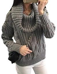 aa68f3d53f Damen Rollkragenpullover Herbst Winter Vintage Fashion Grobstrick Pullover  Elegante Langarm Hoher Kragen Locker Classic Lässige Dicke