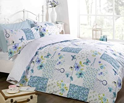 Finest Homeware Dream Patchwork Flowers and Butterflies Duvet Cover Quilt Bedding Set, Teal, Double - cheap UK light store.