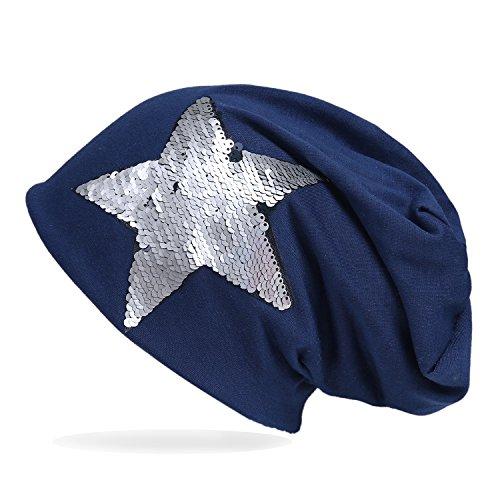 ZQY Beanie Mütze mit Pailletten Stern,Slouch Longbeanie,leicht,Damen