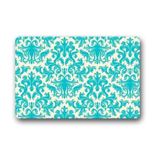 LoveBiuBiu Door Mat Teal Turquoise Classic Damask Pattern Vintage French Floral Swirls Doormat Rug Indoor/Outdoor/Front Door/Bathroom Mats Floor Mat 23.6inch X 15.7inch -