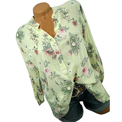 GJKK Bluse Damen Herbst Übergröße Shirt Stehkragen Button Blumendruck Langarm Tops Lose Oberteil Sweatshirt Pullover Langarmshirt Hemd...