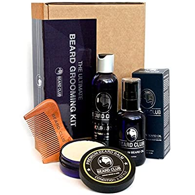 The Ultimate Beard Grooming Kit | Gift Set Includes Premium Quality Beard Oil, Balm, Shampoo, Comb & Box | One of This Years Best Gifts for Men Who Love to Care for Their Beards