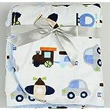 Guru Kripa Baby Products™ Presents Double Layer Velvet Fleece Printed Baby AC Blanket Cum Warm Up Fleece Blanket Cum Sleeping Bag Double Layered 100% Soft Stroller Flalane Receiving Sleeping Bag Size 102cm X 76cm (Sky Blue)