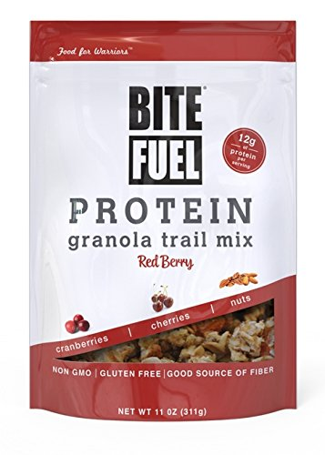 Bite Fuel - Bacca di colore rosso della miscela della traccia del Granola della proteina - 11 oncia.