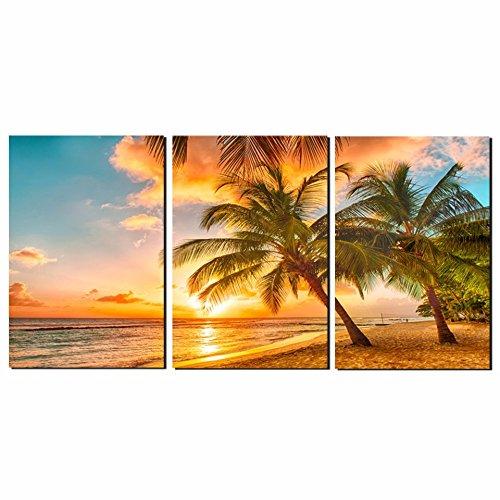 Thwall Leinwand Gemälde Wohnzimmer Decor 3 Stücke Sonnenuntergang Strand Welle Kokospalmen Seascape Poster Wandkunst HD Drucke Bilder Rahmen, 40 cm * 60 cm * 3