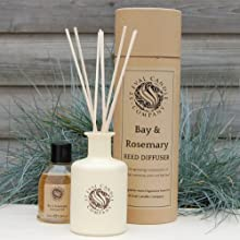 St Eval Scented Reed Diffuser - Bay & Rosemary - Brand New Diffuser In Buff Drum Gift Box with Cream Ceramic Bottle, Diffuser Liquid & Reeds. by St Eval