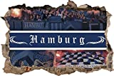 Ultras Hamburg Collage, 3D Wandsticker Format: 92x62cm, Wanddekoration