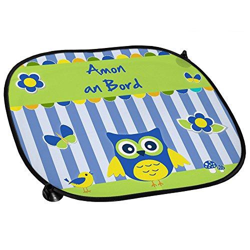 Auto-Sonnenschutz mit Namen Amon und schönem Eulen-Motiv für Jungs - Auto-Blendschutz - Sonnenblende - Sichtschutz