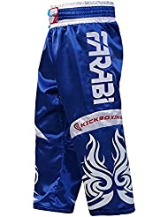 Farabi KickBoxing Trousers Pants Mix martial arts Full contact Blue Red Black Adult & kids sizes (Blue, Medium)