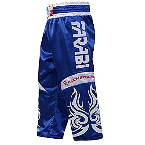 Farabi KickBoxing Trousers Pants Mix martial arts Full contact Blue Red Black Adult & kids sizes (Blue, Small)