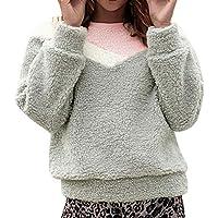 Hanomes Damen pullover, Frauen Winter Arctic Velvet Rundhals Langarm-Stitching Bluse preisvergleich bei billige-tabletten.eu
