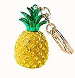Lumanuby Handbag Keyring Crystal Pineapple Pendant Keychain Key Chain Bag Gift Car Pendant Yellow 1 Pcs