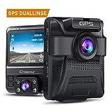 Crosstour Dashcam 1080P Full HD Autokamera Vorne und Hinten Dual Lens, Externe GPS Auto Camera, 170 ° Weitwinkelobjektiv HDR Nachtsicht, Bewegungserkennung G-Sensor Loop-Aufnahme