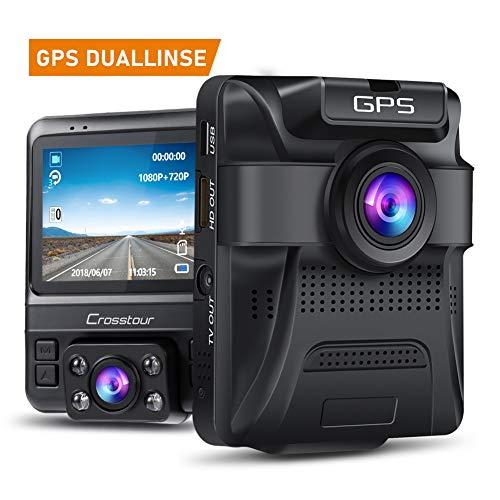 Crosstour Dashcam 1080P Full HD Vorne und Hinten Dual Lens, Externe GPS Auto Kamera