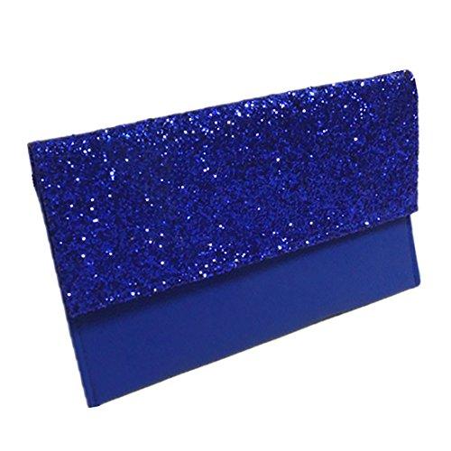 YYW Leather Clutch Bag, Poschette giorno donna Royal Blue