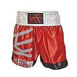 KRF Feel The Enemy Thai Tinta Unita Pantaloncini da boxe, Uomo, UOMO, Thai Liso, rosso, L