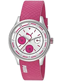 Puma Motorsport Wheel Chrono - Small Unisex Quartz Watch with Silver Dial Chronograph Display and Pink Plastic or PU Strap PU102742002