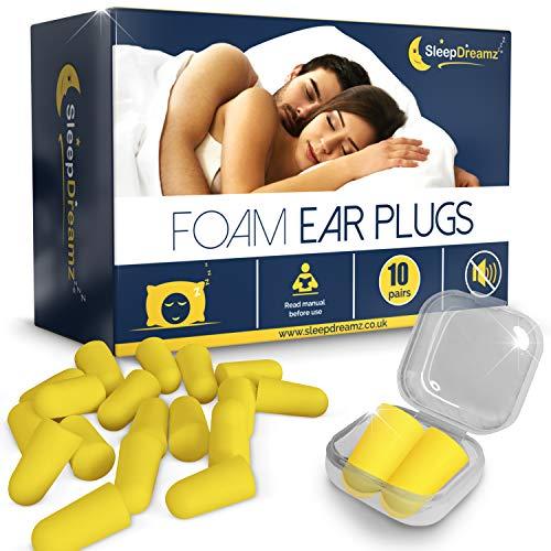 SleepDreamz Schaumstoff Ohrstöpsel zum Schlafen - 10 Paar geräuschunterdrückende Ohrstöpsel - Schnarchen-Unterdrückung & Schutz vor anderen lauten Geräuschen, mit diesen Ohrenstöpsel für den Schlaf