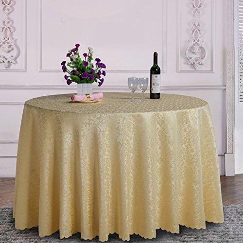 QPG Nappe ronde de fibre de polyester de nappe de table de restaurant de restaurant de table ronde 260CM (Couleur : Le jaune)