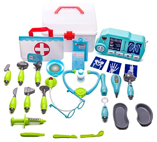 Arzt Dress Up (Deluxe Doctor Play Set - 32 pieces including tote bag, storage case and xray machine with light and sound)