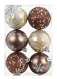 6 Stk. PVC Christbaumkugeln 8cm ( beige / braun ) // Ornament Dekor Kunststoff bruchfest Dekokugeln Weihnachtskugeln Baumkugeln Baumschmuck Set Christbaumschmuck Weihnachtsschmuck 80mm