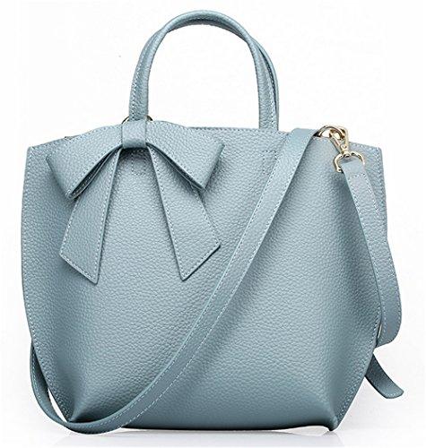Xinmaoyuan Sacs à main pour femme Sacs à main en cuir de vachette de couleur pure Sac épaule mère Bow Portable sac Messenger Blue