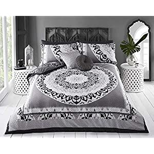 Sleepdown Reversible Double Duvet Cover Set. Easy Care And Super Soft Cotton Design. Black and Grey Paisley Pattern quilt. Size 200x200 cm + 2 matching pillowcase.