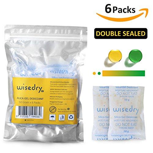 wisedry 50g x 6 Stücke Silicagel Beutel Wiederverwendbar Trocknungsmittel Beutel Mikrowelle Schnell Reaktiviert Feuchtigkeitsentferner mit Orange Silikagel Indikator