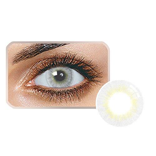 Edited Farbige Kontaktlinsen 1 Paar (2 Stück) Ohne Stärk – Jahreslinsen - Durchmesser: 14.20mm - Verschiedene Farben - Krümmungsradius: 8.60° - Wassergehalt: 38% - Angenehm zu Tragen (Misty grau)