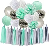 HappyField Baby Dusche Dekorationen Mint Grau Weiß Party Dekoration Kit Seidenpapier Pom Pom Waben Ball Quaste Girlande für Geburtstagsparty Dekorationen / Bridal Shower Decor
