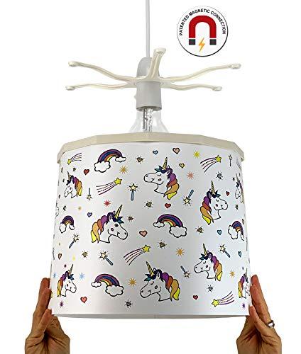 Ereki - Pantalla para lámpara de techo, ABS resistente al calor y al fuego, rosa, azul, morado, amarillo, blanco