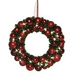 das wohnwerk GmbH Kranz 40cm 20 Lichter Weihnachtsdeko X Mas Weihnachten Türkranz - (Rot)