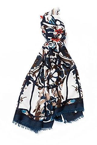 Grand Foulard Écharpe Fantaisie Multicolore Coton/Viscose, avec Motif Abstraits Effet Lin, Finition Franges, Blanc Bleu