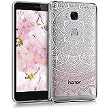kwmobile Étui transparent en TPU silicone pour Huawei Honor 5X / GR5 en rose clair blanc transparent Design soleil indien