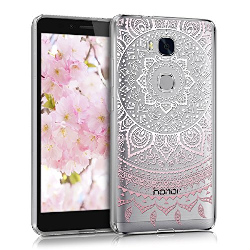 kwmobile Huawei Honor 5X / GR5 Hülle - Handyhülle für Huawei Honor 5X / GR5 - Handy Case in Rosa Weiß Transparent
