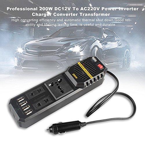 SunnydayDE Professionelle 200W DC12V zu AC220V Wechselrichter Ladegerät Konverter Transformator