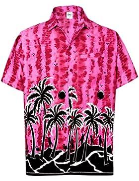 *La Leela* Rilassato Fit Aloha Hawaii Maniche Corte Degli Uomini Regular Fit Hawaiano Camicia Rosa