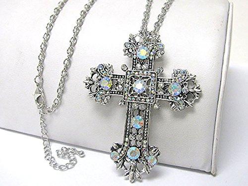 Kreuz Halskette 7cm hoch silber mit Steinen - Ketten - Anhänger - Damen - Halloween