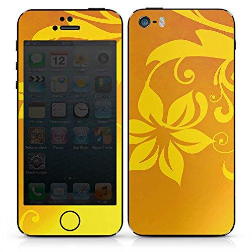 Apple iPhone 4s Case Skin Sticker aus Vinyl-Folie Aufkleber Ornament Blume Gelb DesignSkins® glänzend