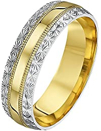 Theia His and Hers 14 ct White and Yellow Gold Two-Tone 4 mm Millgrain and Stars Wedding Ring