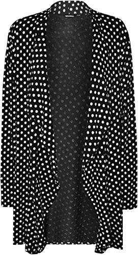 WearAll - Übergröße polka dot langarm punkte druck cardigan Top - Schwarz - 50-52